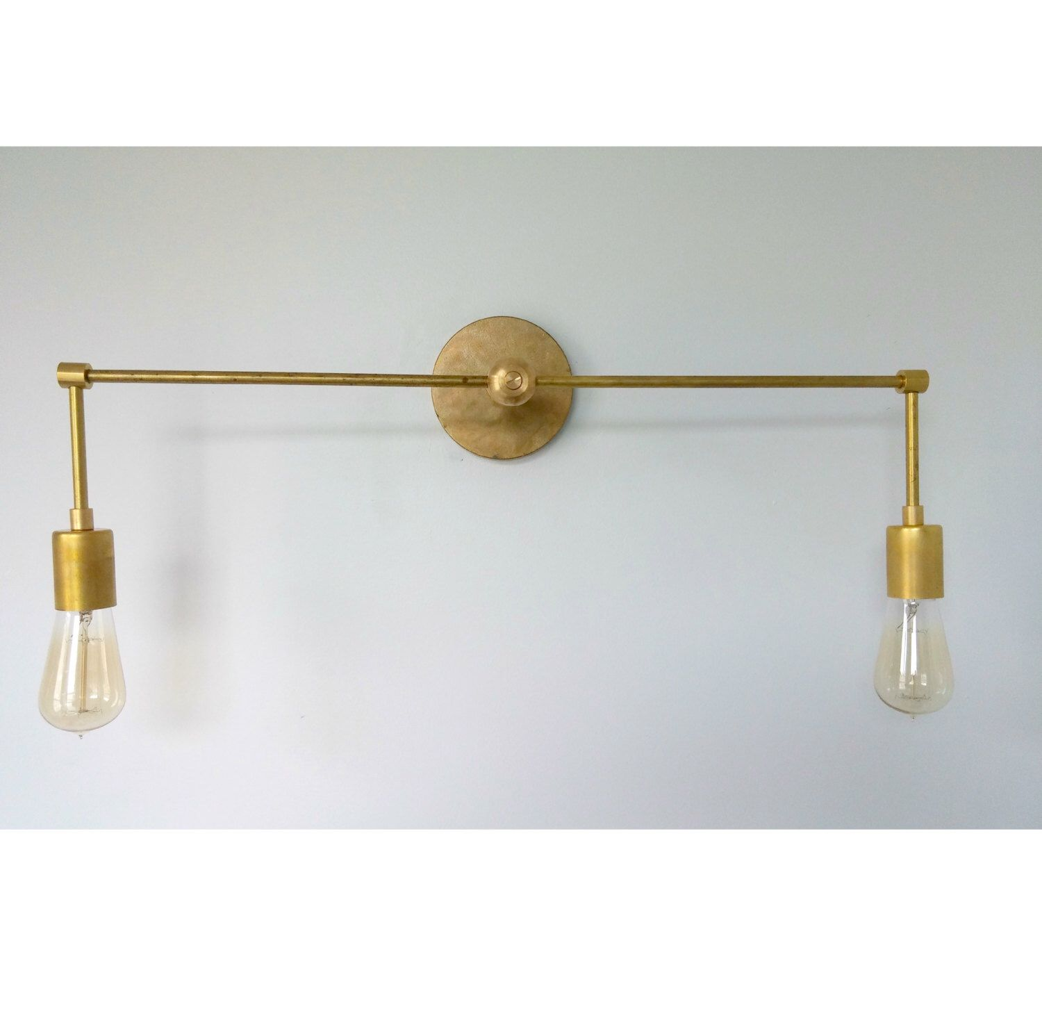 The Magazine Double Sconce   Double Light Sconce   Brass Sconce   Brass Bathroom  Light