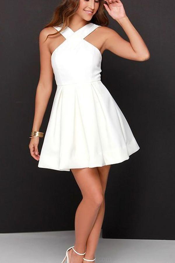 Light Prom Dress Wedding Dresses A-line Chiffon Satin White Short ...