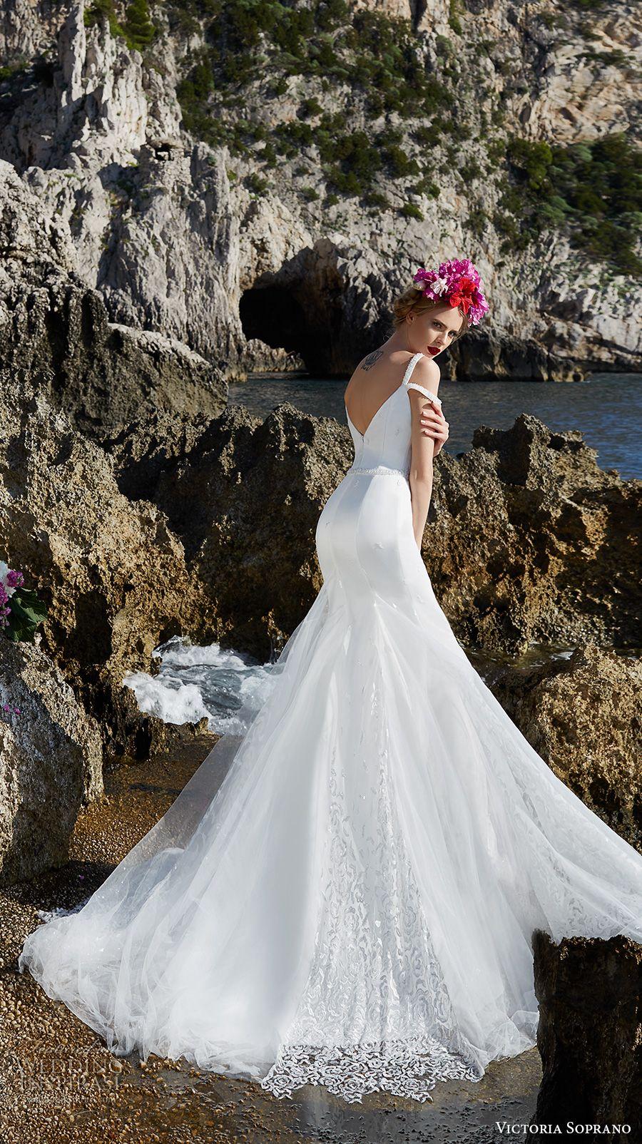 victoria soprano 2017 bridal double thin strap deep sweetheart neckline heavily embellished bodice elegant fit and flare wedding dress open v back chapel back (7) bv -- Victoria Soprano 2017 Wedding Dresses