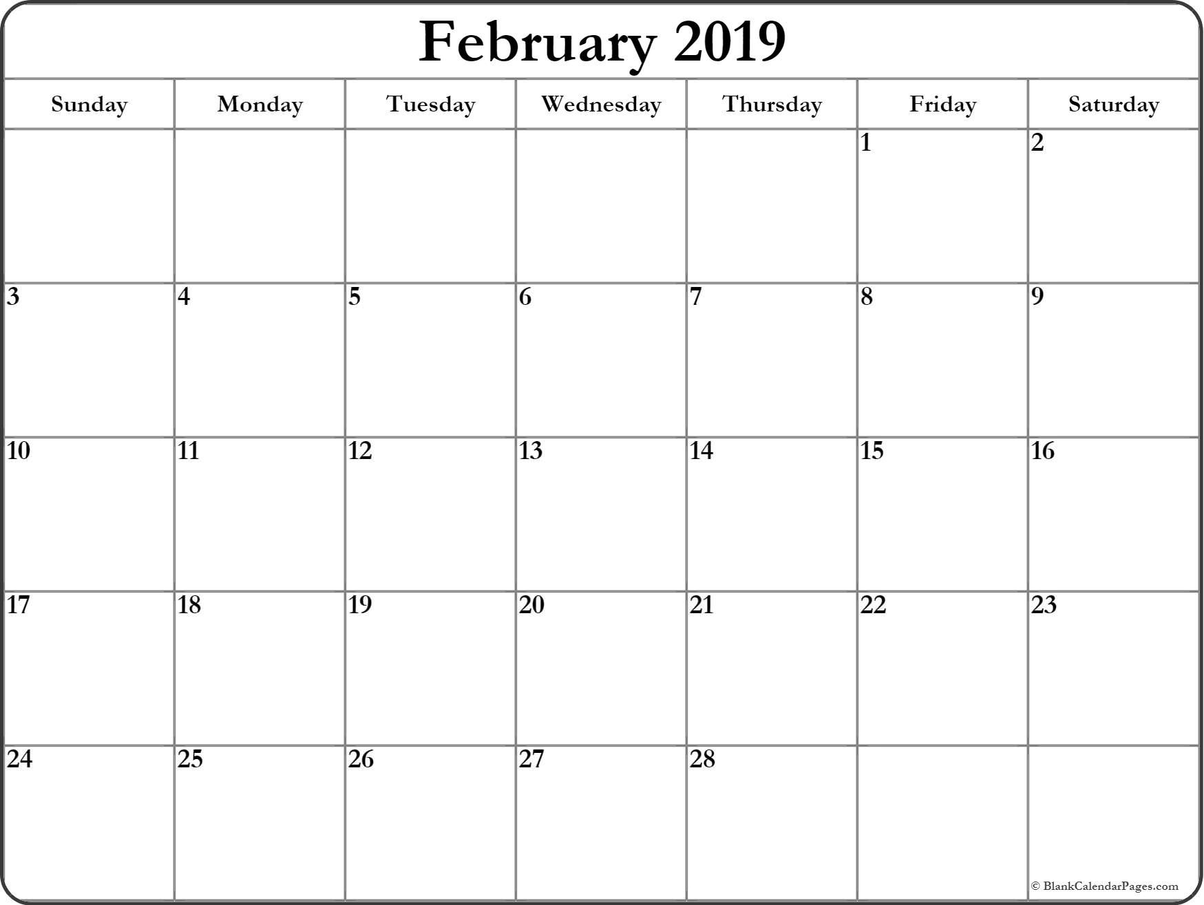 Free Printable February 2019 Monthly Calendar February blank calendar 2019 blank calendar #February #2019