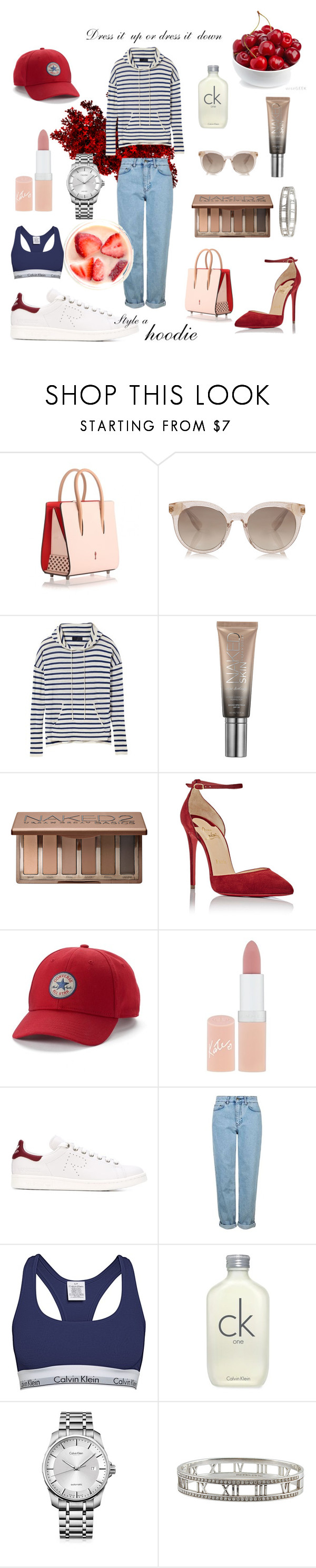 """""""Hoodie Contest"""" by elliekitcher ❤ liked on Polyvore featuring Christian Louboutin, Urban Decay, Converse, Rimmel, adidas, Topshop, Calvin Klein and Tiffany & Co."""