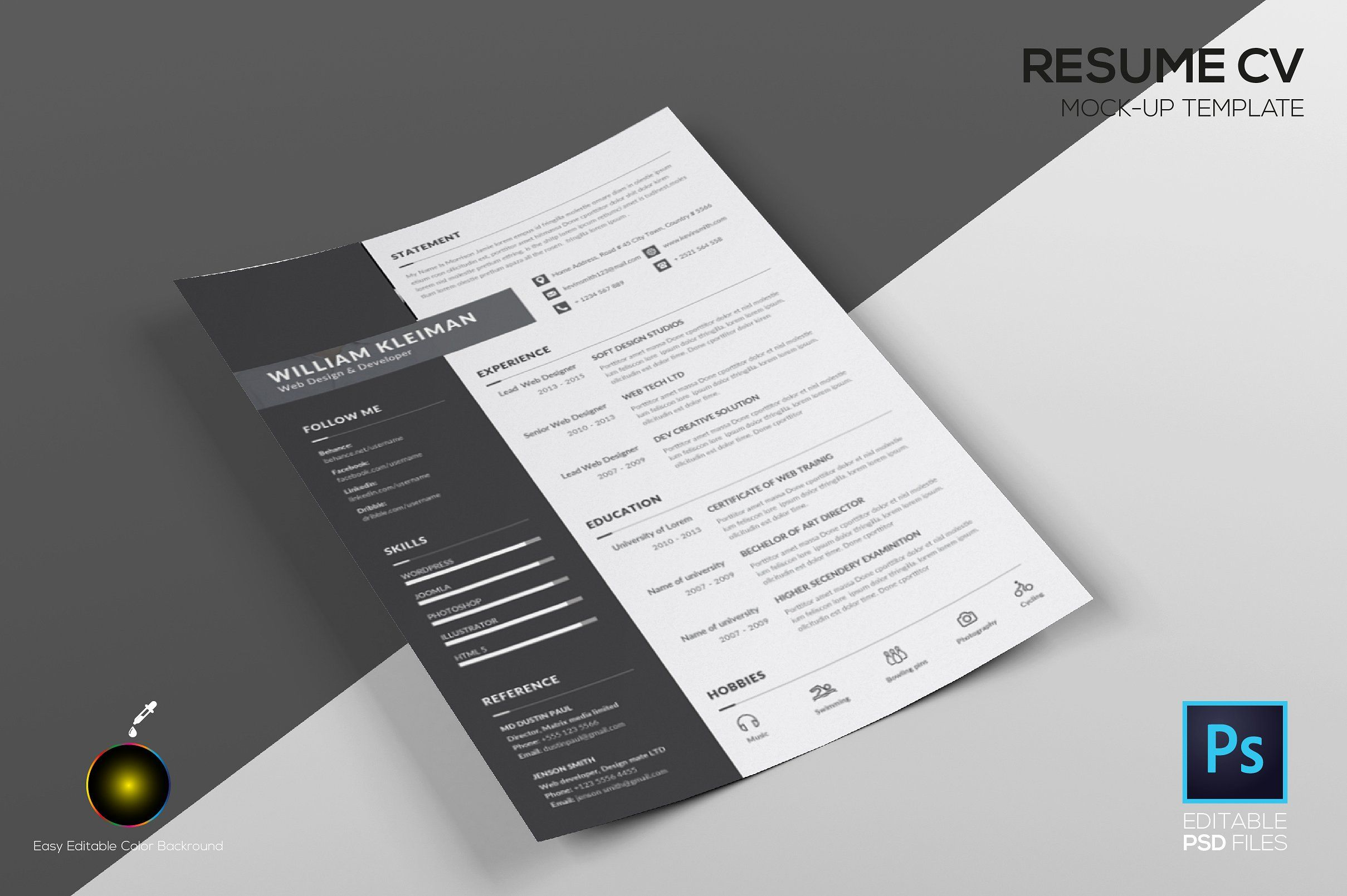 Resume CV Mock up Template by mockupteam on