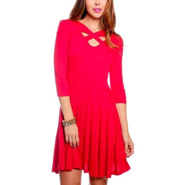 Red Cross Neck Three Quarter Sleeve Cute Dress ($23) ❤ liked on Polyvore featuring dresses, red, red day dress, pink three quarter sleeve dress, three quarter dress, three quarter sleeve dress and 3/4 sleeve dress