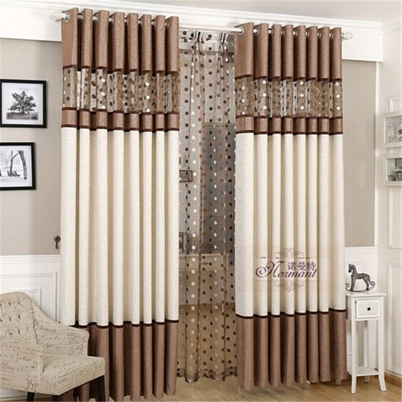 Luxury stitching embroidery yarns blackout curtains for Living room curtain fabric