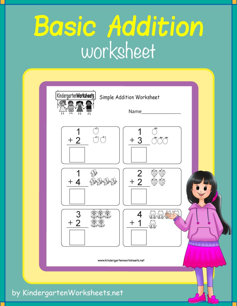 Kindergarten Basic Addition Worksheet Kids Math Worksheets Kindergarten Math Worksheets Free Kindergarten Addition Worksheets