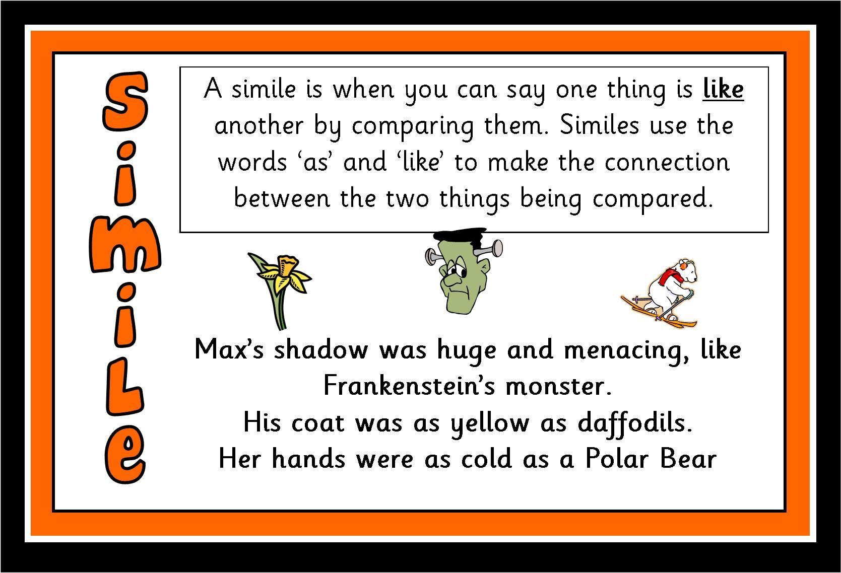 Simile And Metaphor Worksheet Grade 4
