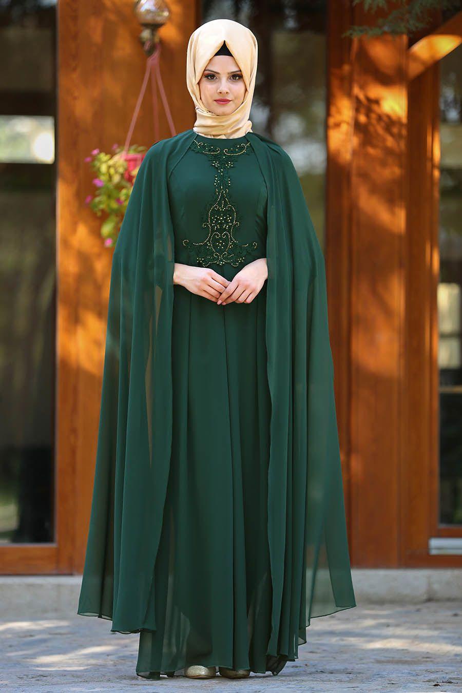Neva Style Tasli Yesil Tesettur Abiye Elbise 25617y Tesetturisland Com The Dress Musluman Elbisesi Aksamustu Giysileri