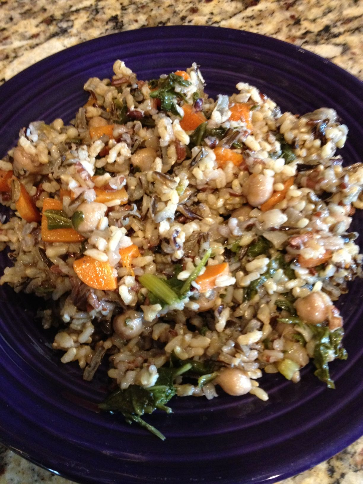 Wild Rice with Chickpeas and Spinach #vegan #oilfree #glutenfree