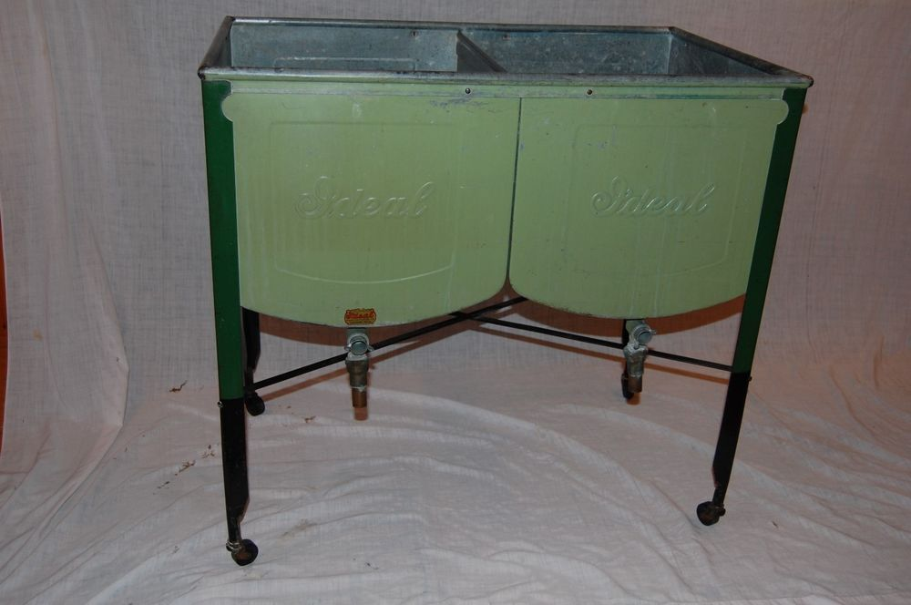 Vintage Galvanized Ideal Double Wash Tub Laundry Sink Green With Lid 1930 S Metal Wash Tub Wash Tubs Tub
