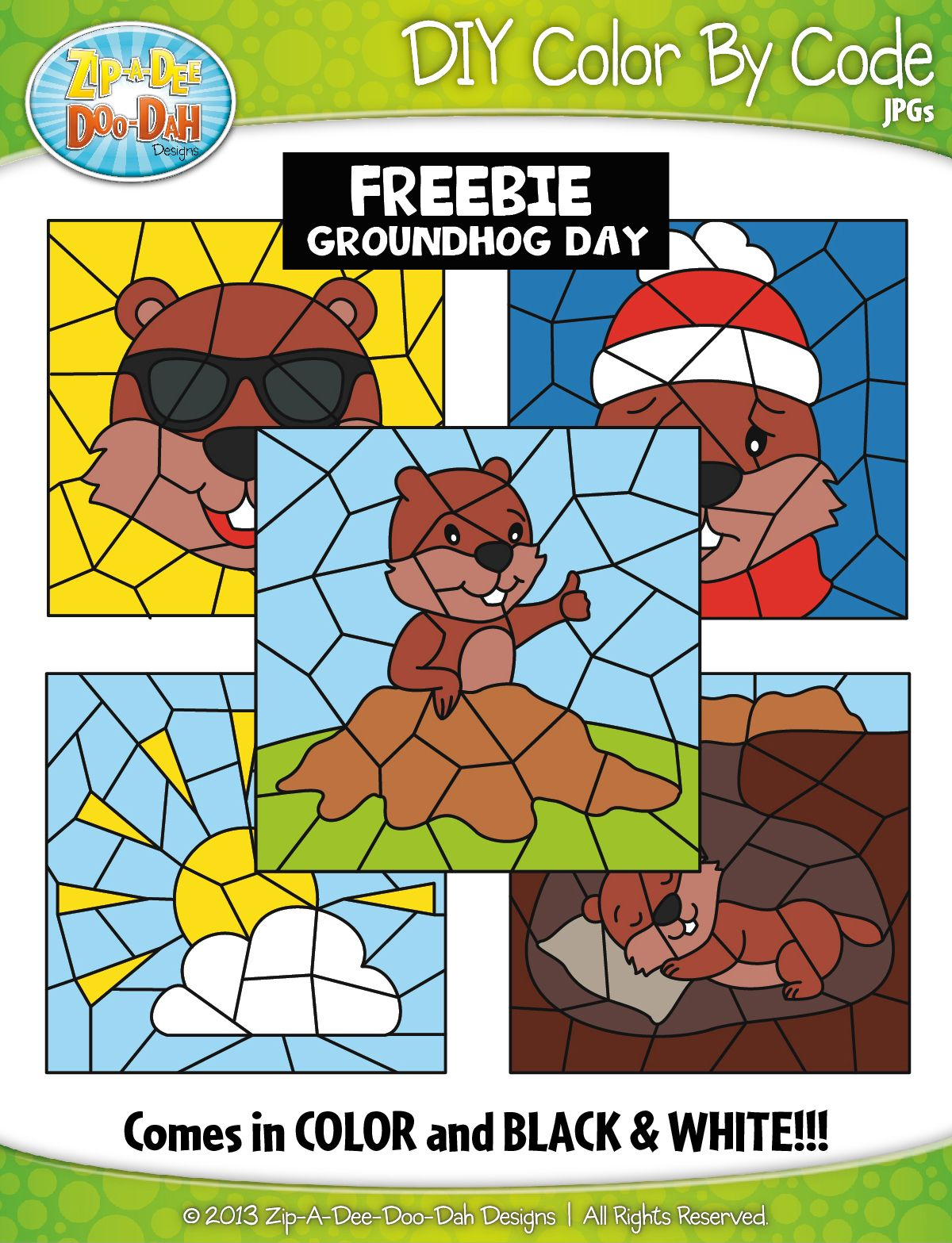 Free Groundhog Day Color By Code Clipart Zip A Dee Doo
