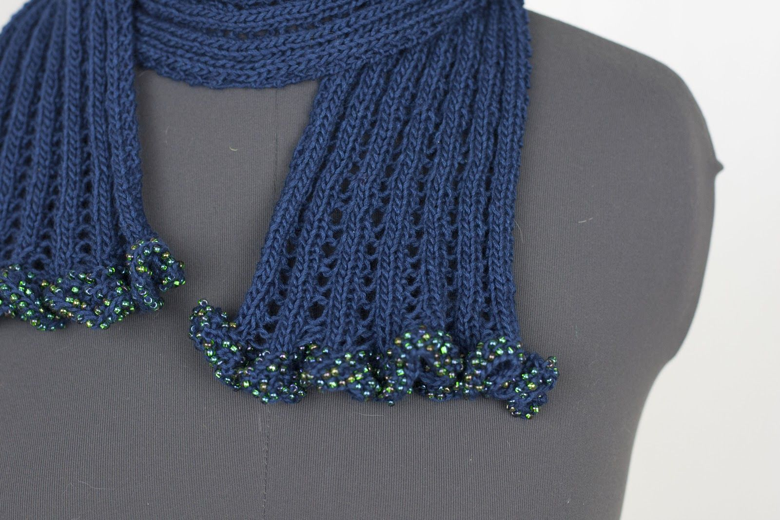 Cascade Yarns: Lace Rib Beaded Ruffled Scarf - knit in Venezia Sport ...