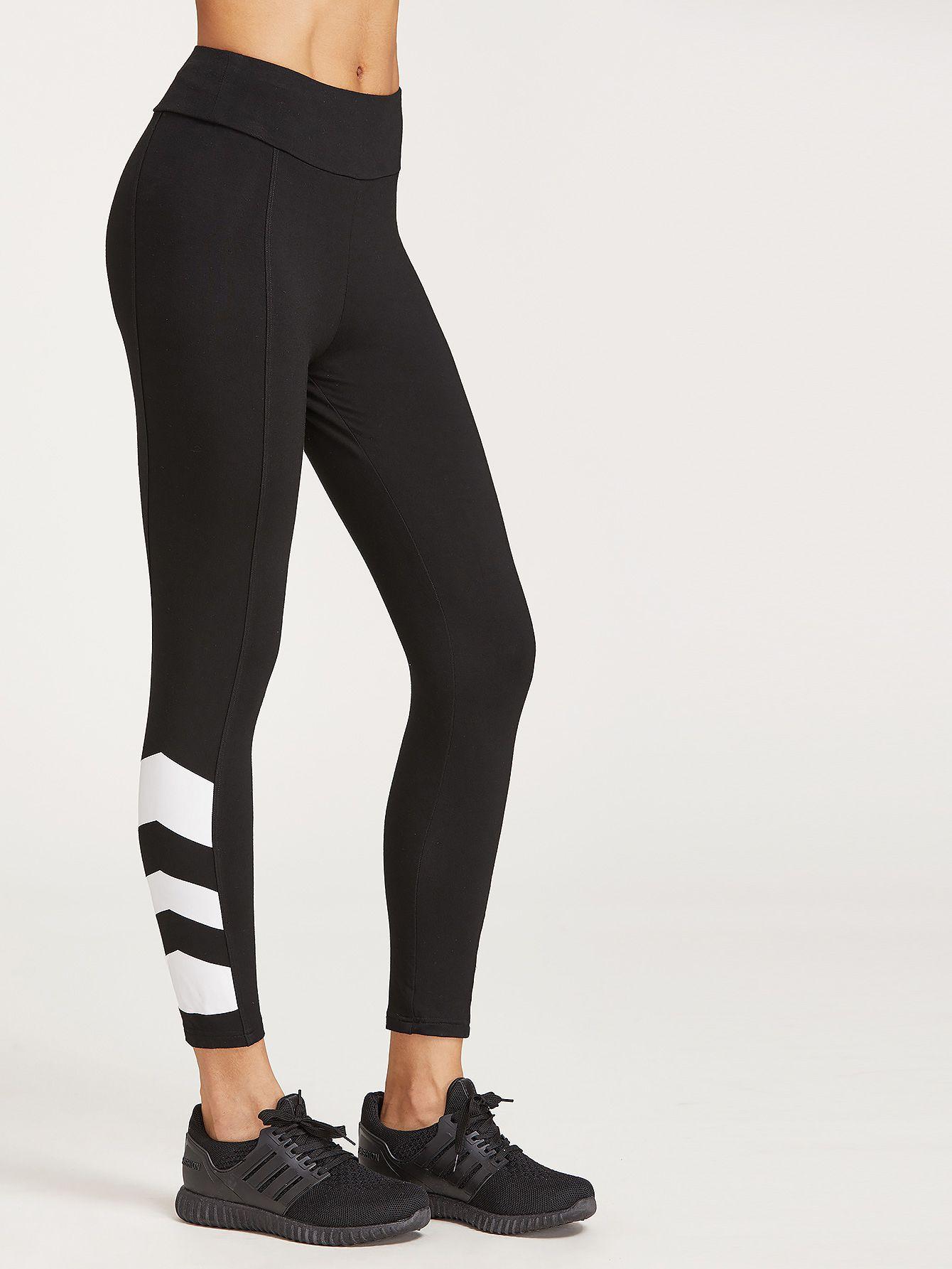 e007fdcc64f9ac Shop Black Contrast Print Hem Crop Leggings online. SheIn offers Black  Contrast Print Hem Crop Leggings & more to fit your fashionable needs.