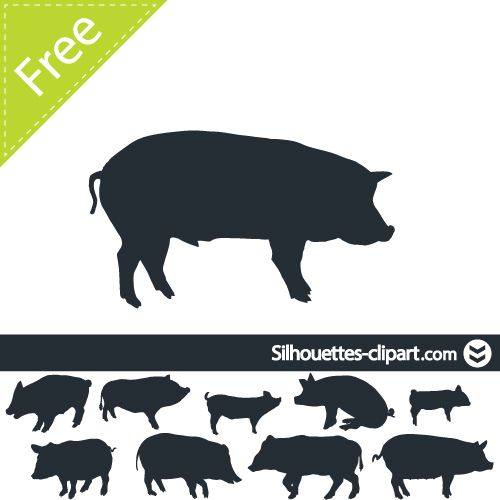 Pig Vector Silhouette Silhouettes Clipart Pig Silhouette Animal Line Drawings Pig Vector