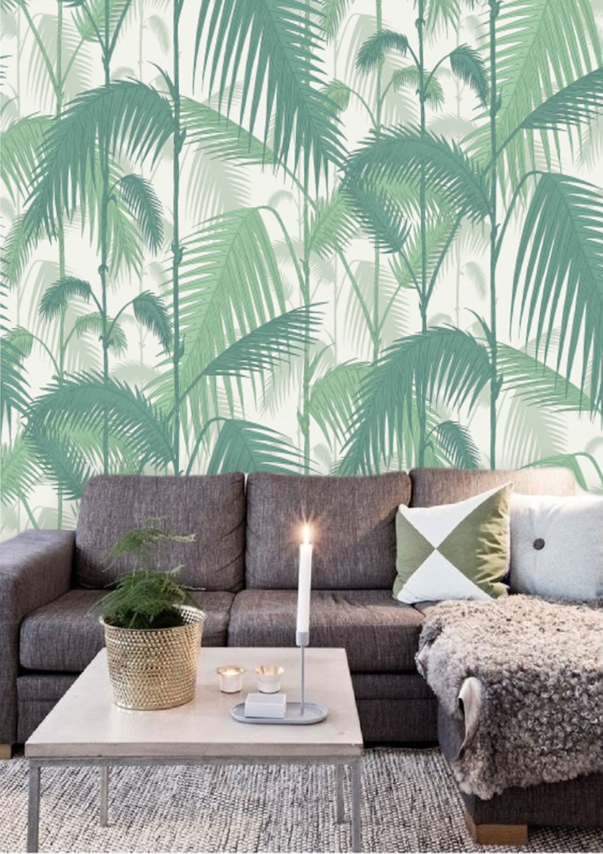 Green Palm Leaf Wallpaper Peel And Stick Jungle Tropical Etsy Palm Leaf Wallpaper Leaf Wallpaper Wall Wallpaper