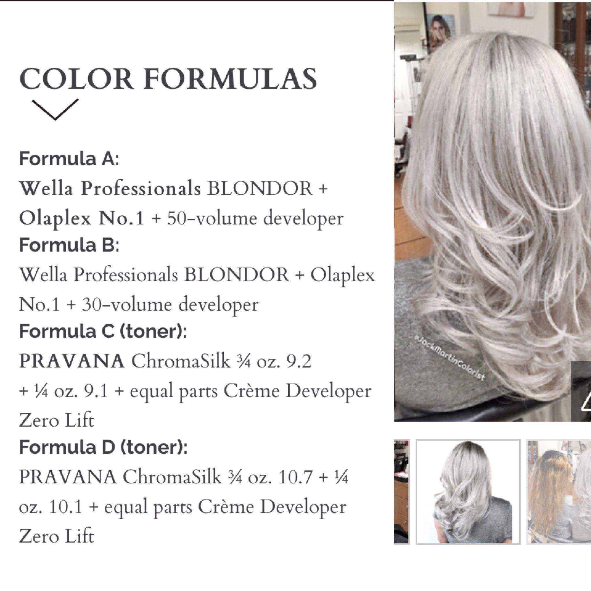 Silver Hair Hair Color Formulas Hair Color Techniques Wella