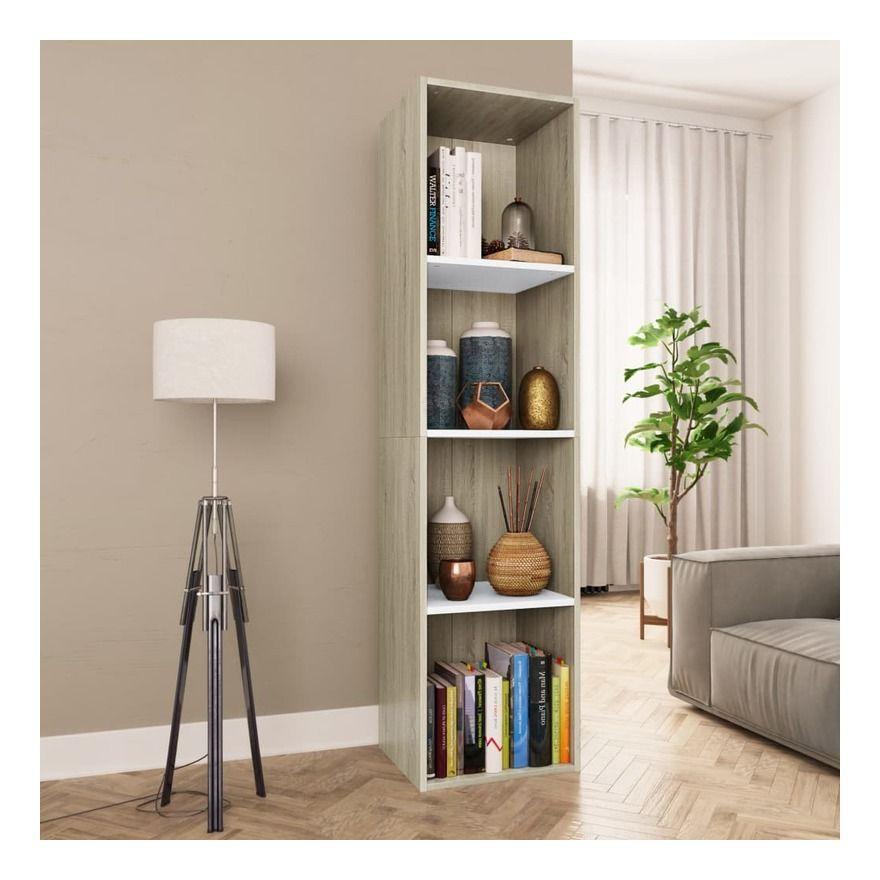 Bibliotheque Meuble Tv Blanc Et Chene Sonoma 36x30x143 Cm 800149