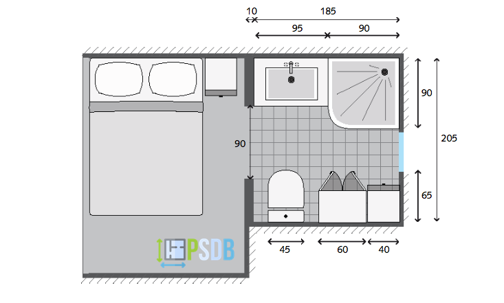 Exemple de plan de salle de bain de 3.8m2 | Plans pour petites ...