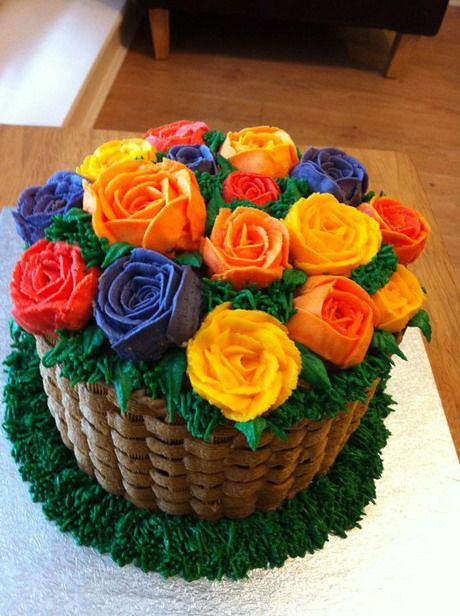 Summery Flower Basket Cake Flower Basket Cake Cake Shapes Cake Basket