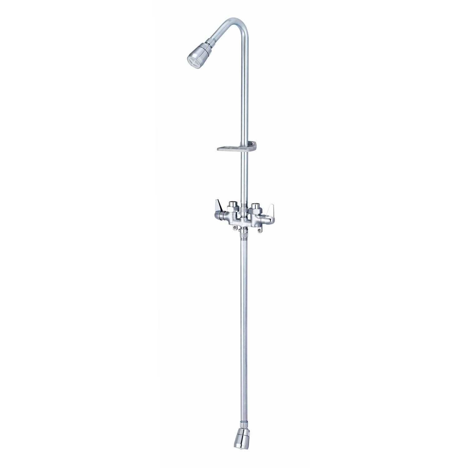 Economy Exposed Pipe Outdoor Shower with Foot Shower- Lever Handles ...