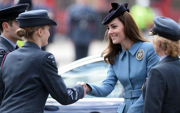 Catherine, Duchess of Cambridge, Honorary Air Commandant attended a church service to celebrate 75th anniversary of the RAF Air Cadets at St Clement Danes Church on February 7, 2016 in London, England. The Duchess brought back her popular light blue Alexander McQueen coat for the ceremony.