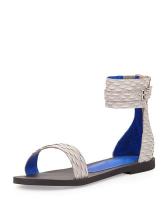 Islip Snake-Embossed Printed Flat Sandal, Gray by Jeffrey Campbell at Neiman Marcus.