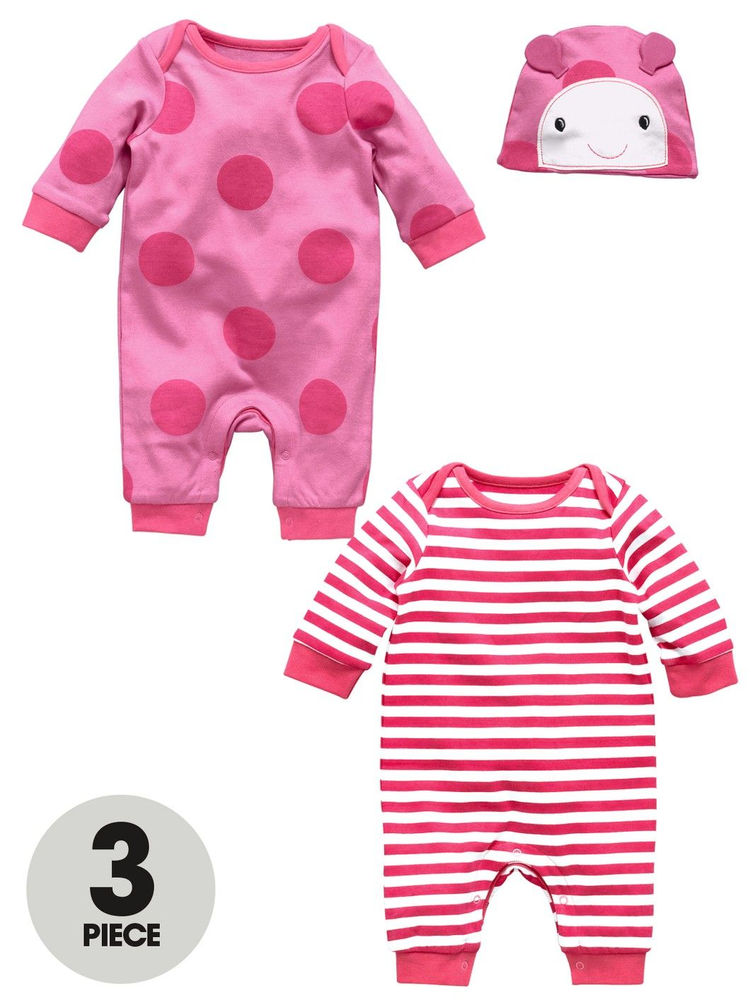 b7a6e43a4b94 Ladybird Baby Girls Rompers and Hat (3 piece)