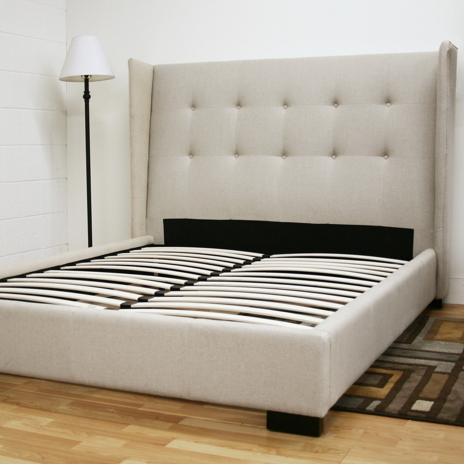 Tall White Upholstered Puffy Headboard Master Bed As Well As Queen