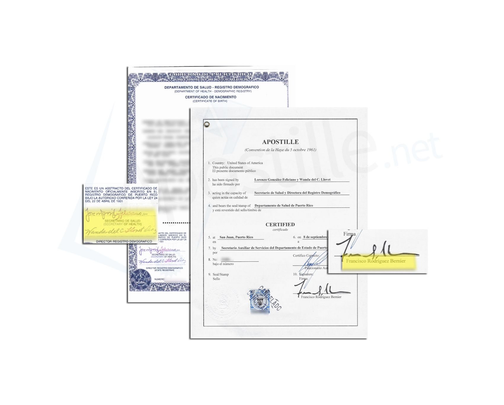State of Puerto Rico Apostille issued by Francisco Rodriguez Bernier ...