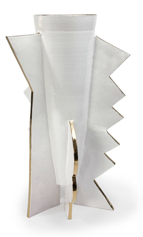KELLY WEARSTLER | ABSTRACT ZIG ZAG LARGE VASE. Geometric ceramic vase with 22k gold detailing. Handmade in Italy