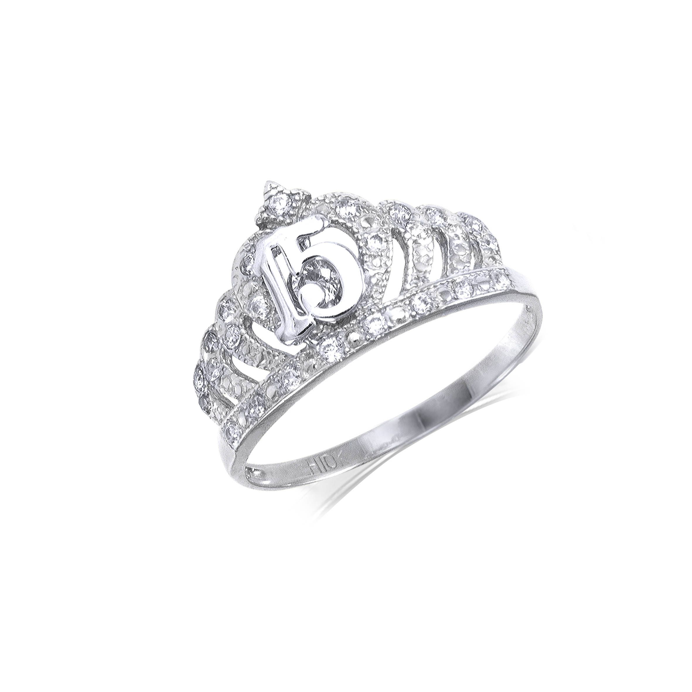 10K Solid White Gold Cubic Zirconia Crown Sweet 15 Ring