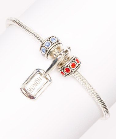 This Silver Honor Patriotic Bracelet Made With SWAROVSKI ELEMENTS is perfect! #zulilyfinds