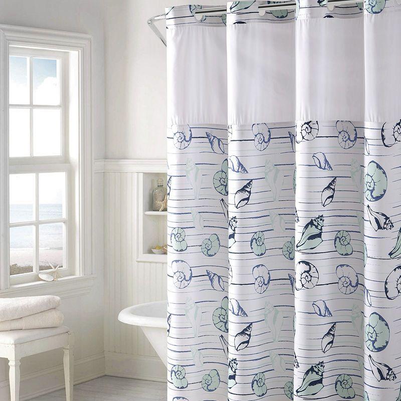 Hookless Seashell Stripe Print Shower Curtain Set Striped Shower
