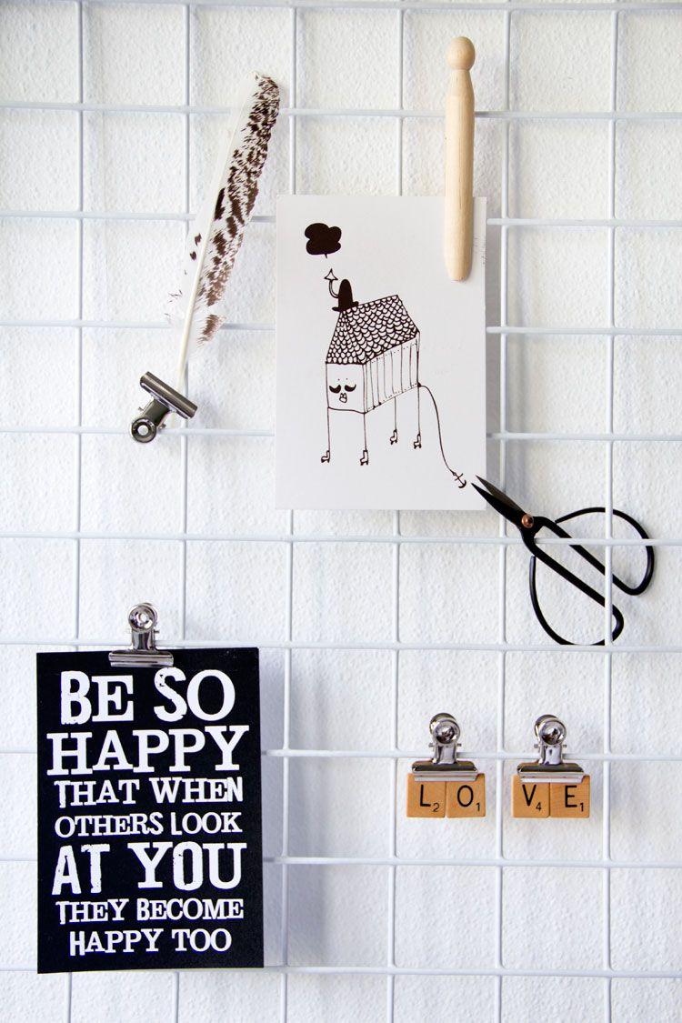 Diy maak een memobord van gaas ideas for home pinterest mesh met and diy - Board deco kamer ...