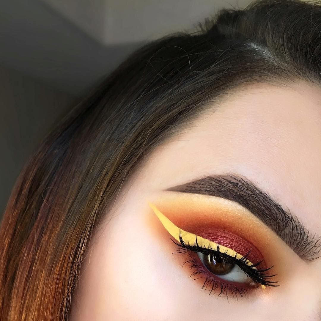 """NYX Professional Makeup on Instagram: """"Sunset eyes by @heathervenere 🌅 The yellow liner used is our Vivid Brights in 'Vivid Halo' 💫 Shop our IG gallery by clicking the link in…"""""""