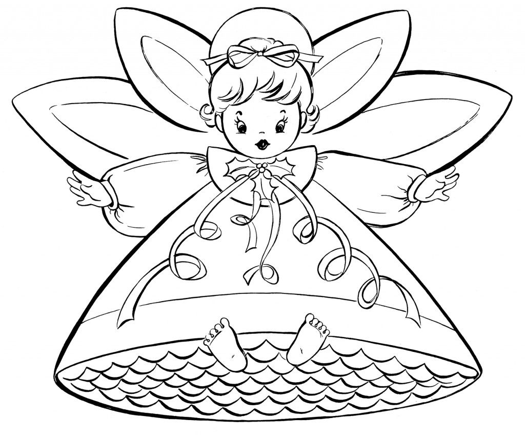 Free Christmas Coloring Pages - Retro Angels | Graphics fairy, Angel ...