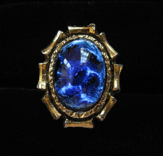 Blue Foil Glass Cocktail Ring Adjustable by Elsewind on Etsy, $23.00