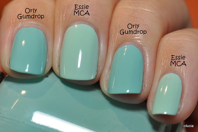 Comparison: Essie Mint Candy Apple and Orly Gumdrop | nail polish ...