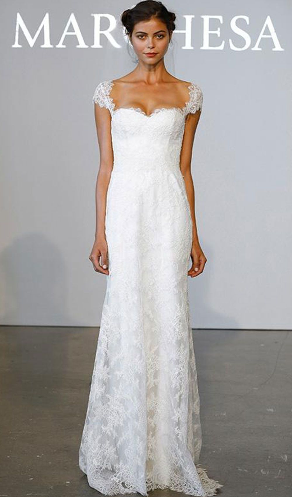 Lace cap sleeve a line wedding dress  Try this corded lace Aline wedding dress with cap sleeve