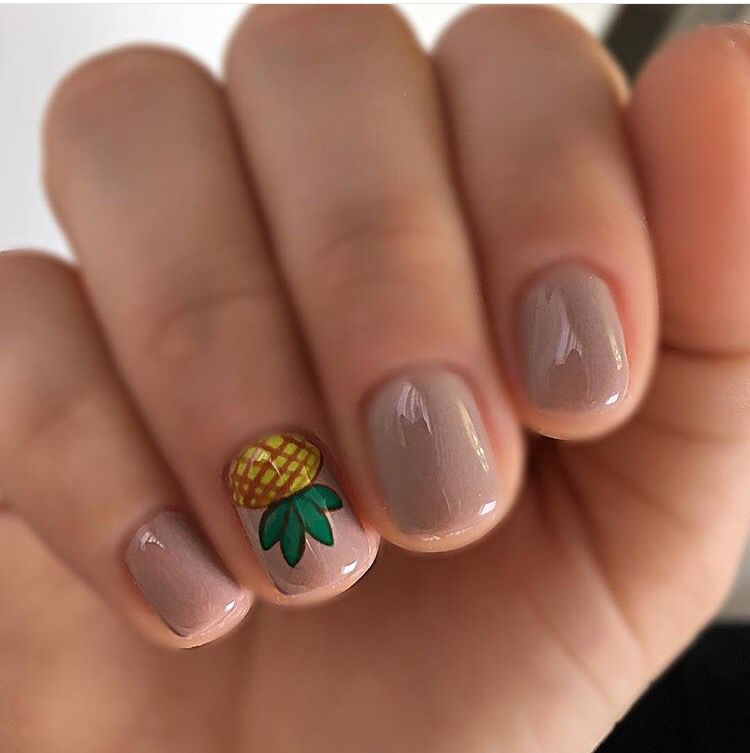 Nude nail color with a pineapple nail design - Pineapple Nails Pinterest Pineapple Nails, Makeup And Manicure