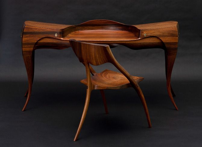 Wendell Castle Desk And Chair