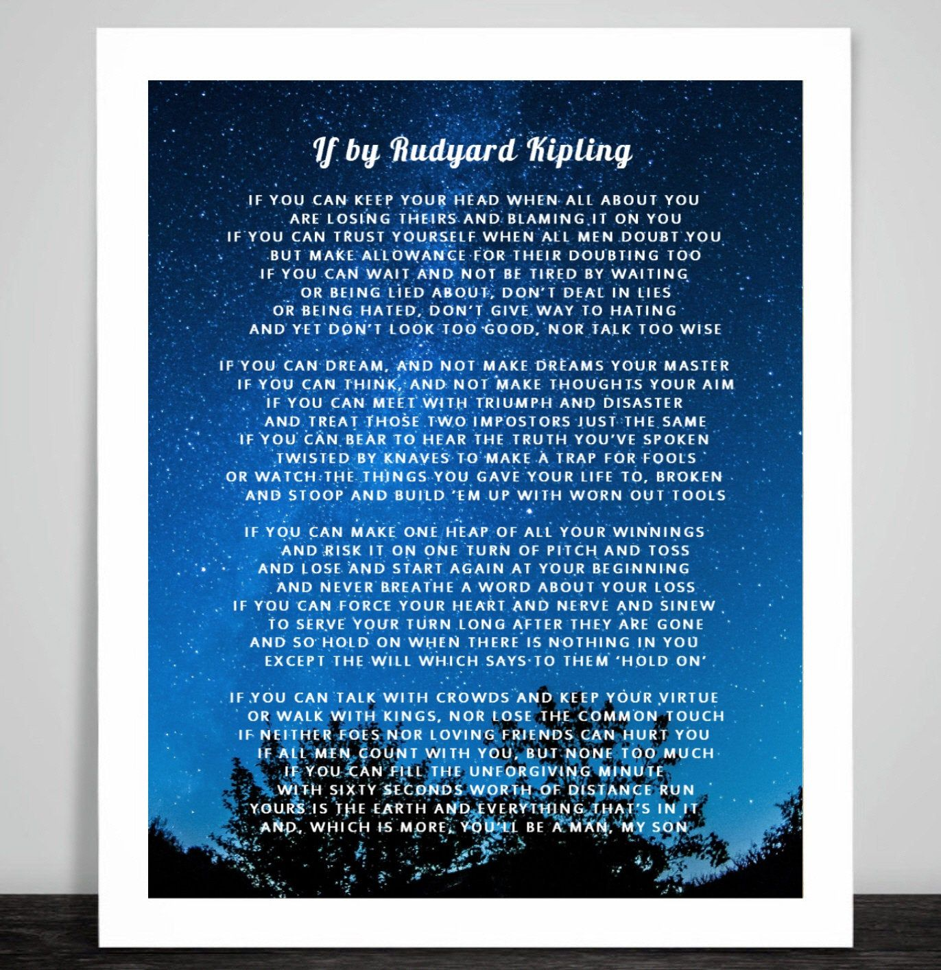 If By Rudyard Kipling Print Poem Quote Fabric Stars You Will Be A