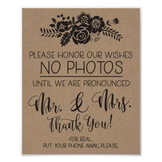 No Ceremony Just Reception: Please No Cell Phone Photos Wedding Ceremony Sign