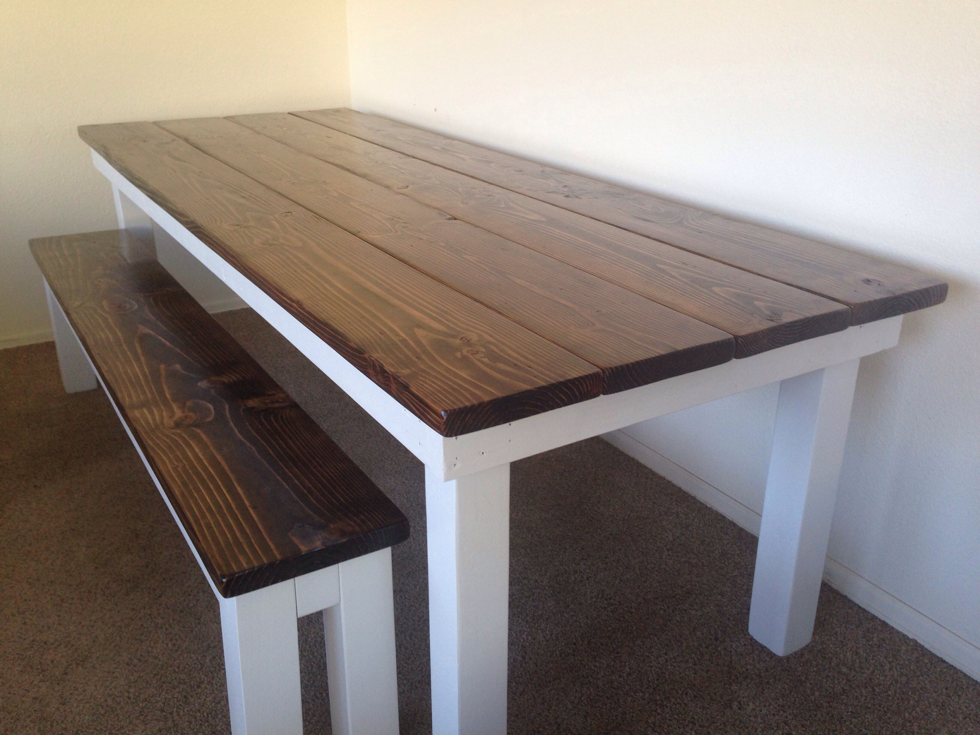 Marvelous Custom Planked Top Farmhouse Table With Dark Walnut Stain And White Base.