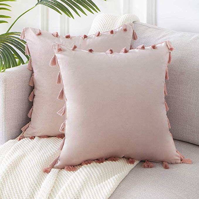 Amazon Com Topfinel Boho Decorative Throw Pillow Covers With Tassels For Couch Bed Sofa Soft V Velvet Cushions Decorative Throw Pillow Covers Blush Pink Throw