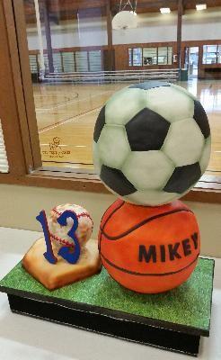 Stacked Soccer Basketball And Baseball Sports Balls Birthday Cake Basketball Birthday Cake Basketball Cake Soccer Cake