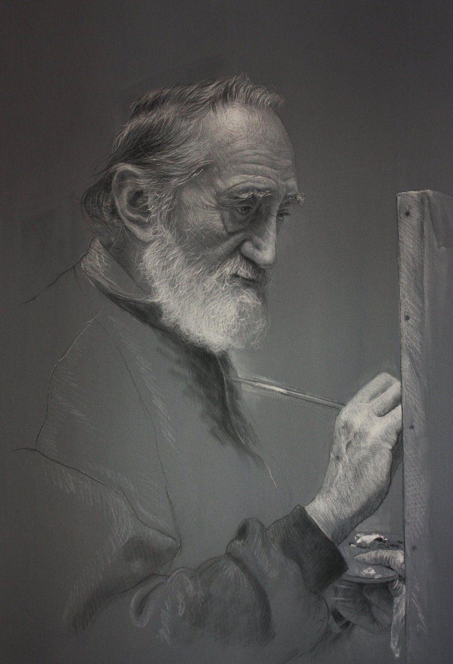 El maestro en su studio, pastel sobre carton.  100 x 70 cms... drawing by Rubén Belloso