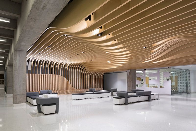 The Seat Along The Wall Becomes A Dramatic Sculptural Wood Ceiling