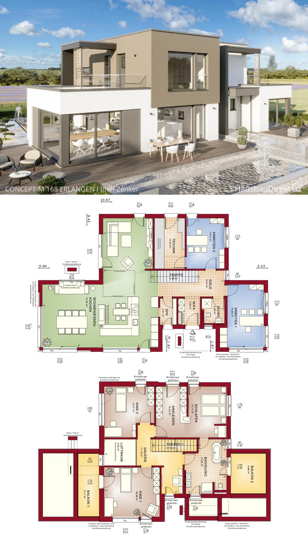 Modernes Haus Design mit Flachdach bauen Einfamilienhaus Grundriss 220 qm 6 Zimmer gerade Treppe