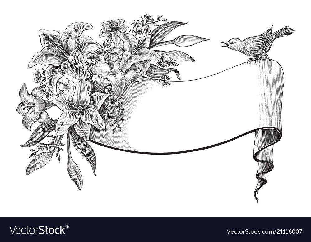 Image result Clip art vintage, Beautiful flower drawings
