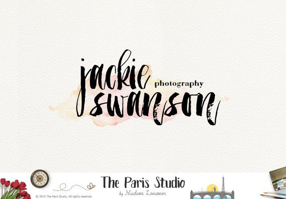 Sale Premade Logo Design Watercolor Brush Font Logo Photography